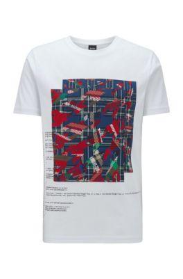 T-Shirt aus Baumwolle mit verschiedenen Algorithmus-Prints, Weiß