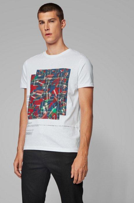 Katoenen T-shirt met print van diverse algoritmes, Wit
