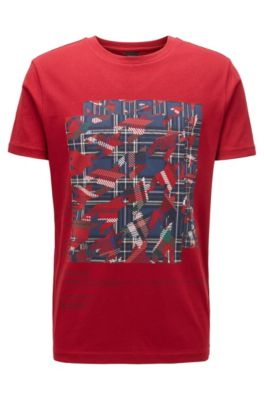 Katoenen T-shirt met print van diverse algoritmes, Rood
