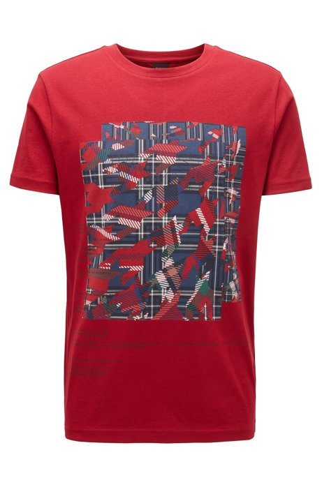 Cotton T-shirt with mixed algorithm print, Red