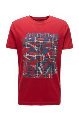 T-shirt en coton à imprimé algorithme varié, Rouge