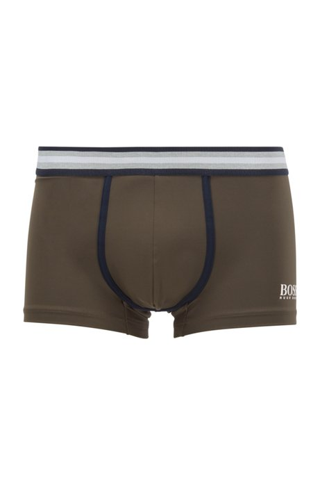 Logo trunks in brushed microfibre, Dark Green