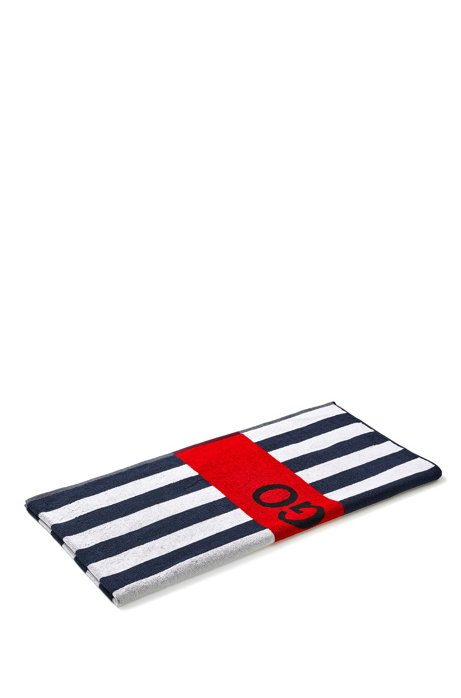 Striped cotton-terry beach towel with contrast logo, Light Blue