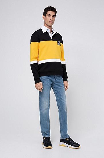 男士修身鲜蓝色舒适弹力牛仔裤,  431_亮蓝色