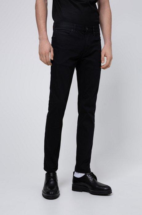 Slim-Fit Jeans aus speziell gewaschenem Stretch-Denim, Schwarz