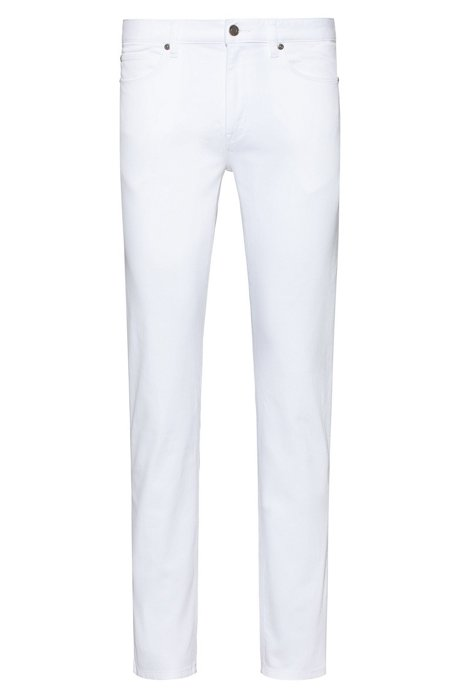 Slim-fit jeans in rinse-washed stretch denim, White
