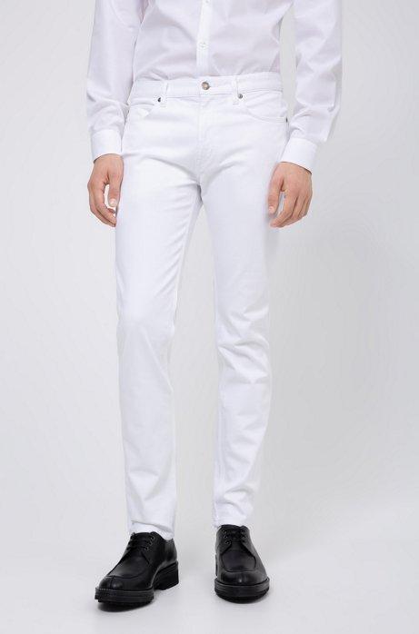 Jean Slim Fit en denim stretch lavé, Blanc