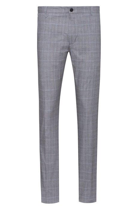 Pantaloni extra slim fit in cotone elasticizzato a quadri, A disegni