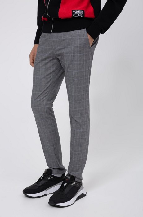 Extra-slim-fit trousers in checked stretch cotton, Patterned