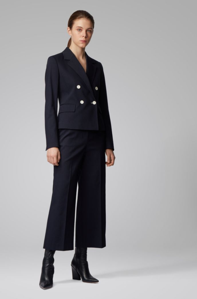 High-waisted wide-leg trousers in stretch-cotton piqué