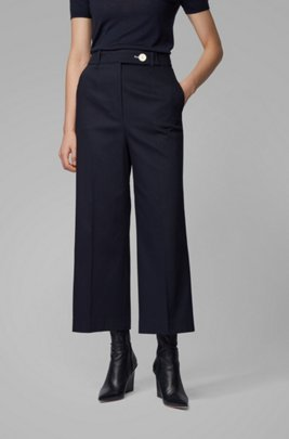 High-waisted wide-leg trousers in stretch-cotton piqué, Dark Blue