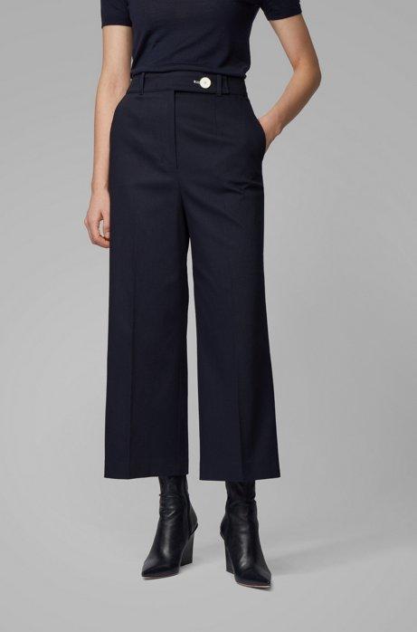 Pantalon large en piqué de coton stretch, à taille haute, Bleu foncé