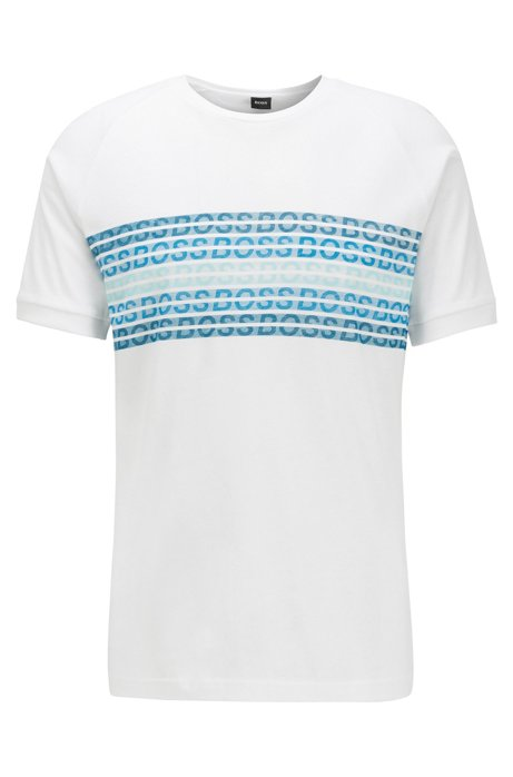 Regular-fit T-shirt with printed logo panel, White