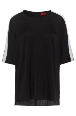 Short-sleeved top in stretch silk with contrast stripes, Black