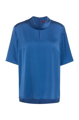 Short-sleeved top in stretch silk with front slit, Blue