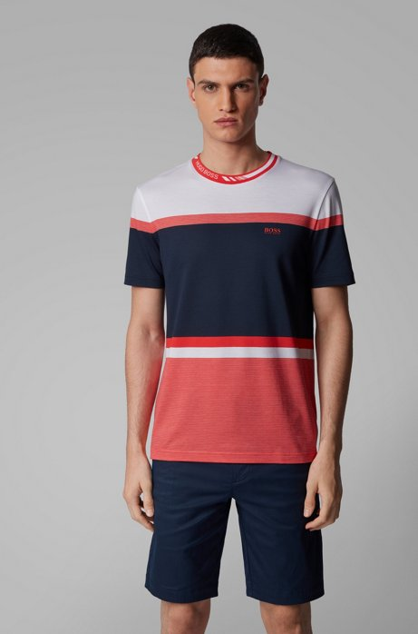 Regular-fit T-shirt with colour-block stripes, Dark Blue