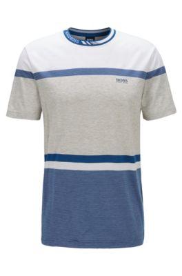 Regular-fit T-shirt with colour-block stripes, Blue