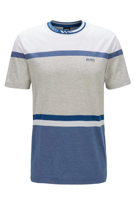 Regular-fit T-shirt with colour-block stripes, Blue