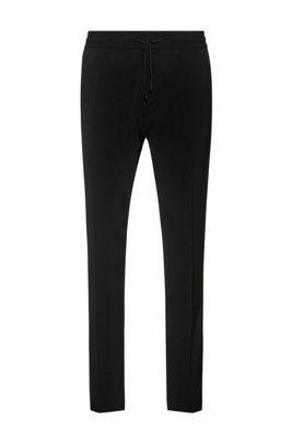 Pantalon Tapered Fit avec taille élastique à cordon de serrage, Noir