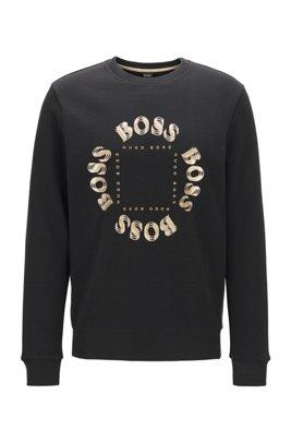 Sweatshirt aus zweiseitigem Gewebe mit mehrlagigem Metallic-Logo, Schwarz