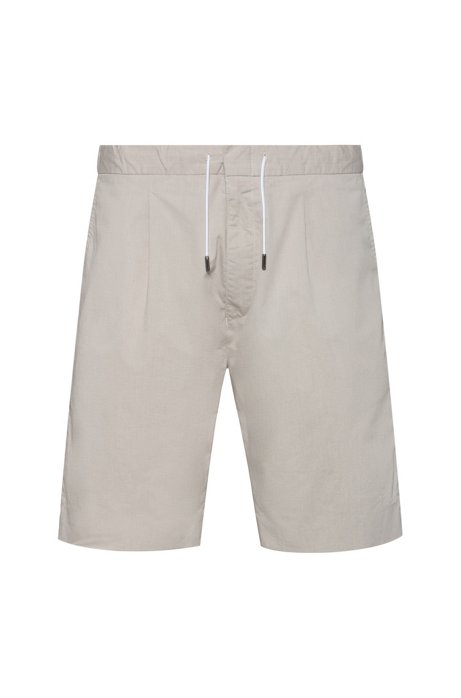 Shorts slim fit de mezcla de algodón elástico con estructura, Beige