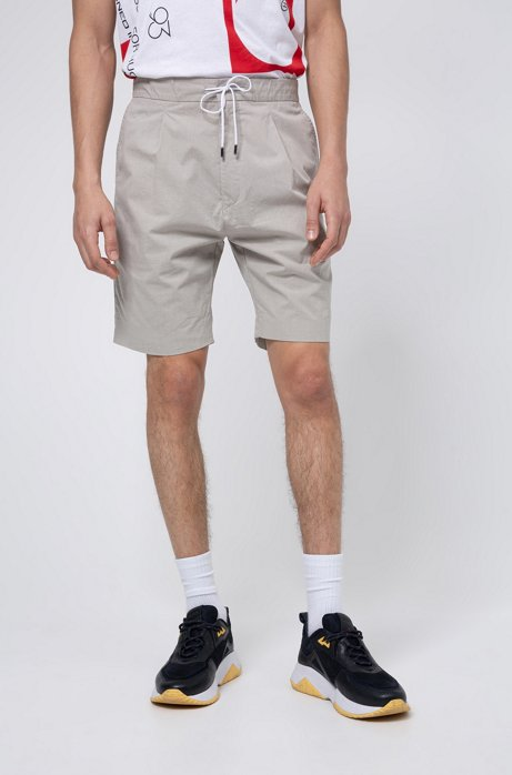 Short Slim Fit en coton stretch mélangé structuré, Beige