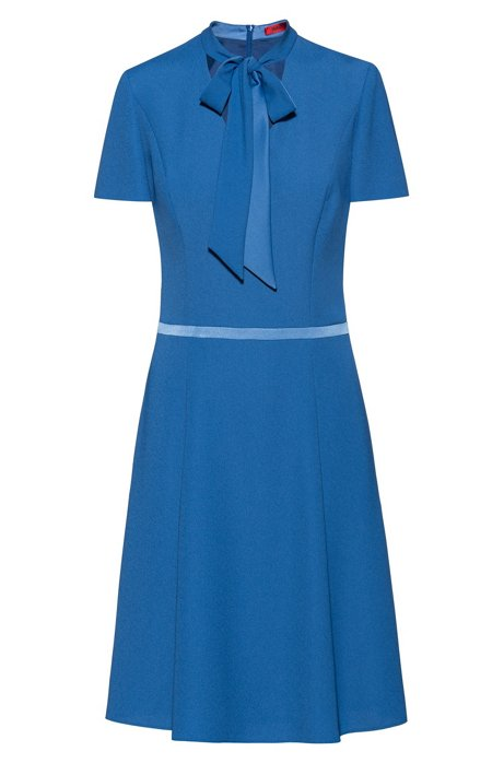 Tie-neck crepe dress with waistband detail, Blue
