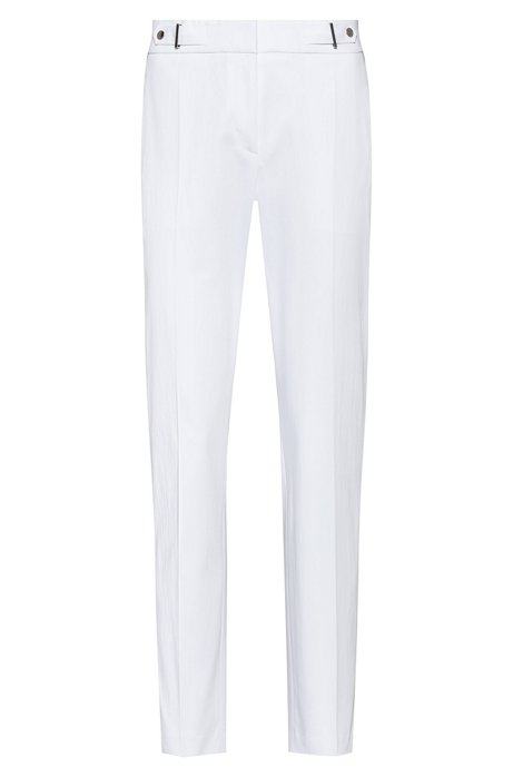 Regular-fit trousers with waistband detail in stretch cotton, White