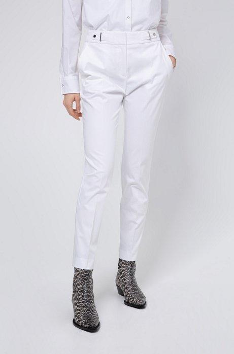 Regular-Fit Hose aus Stretch-Baumwolle mit Bundlaschen, Weiß