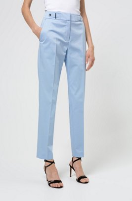 Regular-fit trousers with waistband detail in stretch cotton, Light Blue