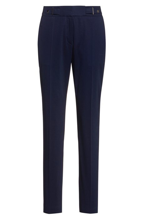 Regular-fit trousers with waistband detail in stretch cotton, Dark Blue