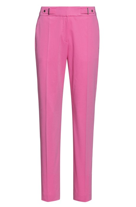 Regular-fit trousers with waistband detail in stretch cotton, Pink