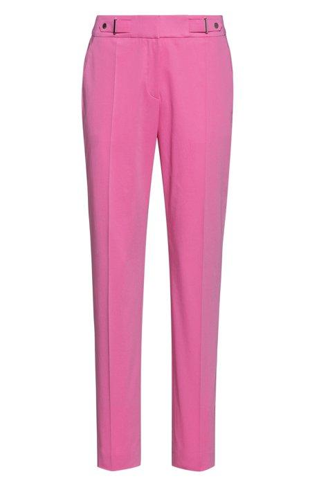 Regular-Fit Hose aus Stretch-Baumwolle mit Bundlaschen, Pink