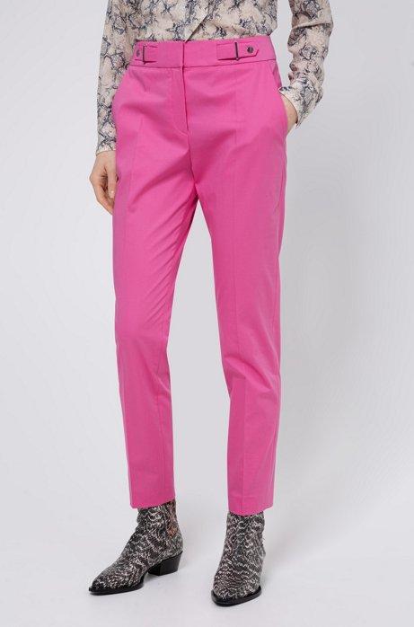 Regular-fit broek van stretchkatoen met detail aan de tailleband, Pink