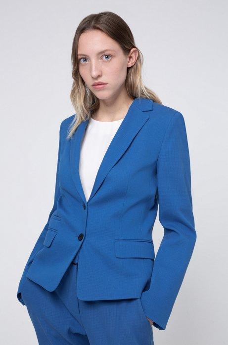 Regular-Fit Blazer aus strukturiertem Baumwoll-Mix mit Elasthan, Blau