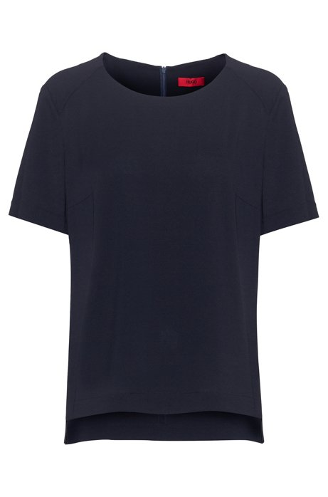 Short-sleeved top in crinkle crepe with stretch, Dark Blue