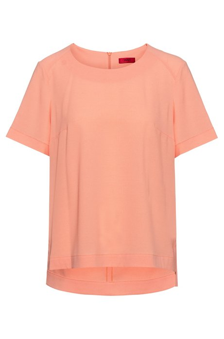 Short-sleeved top in crinkle crepe with stretch, Light Orange