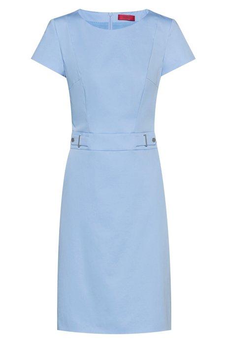 Stretch-cotton shift dress with waistband hardware, Light Blue
