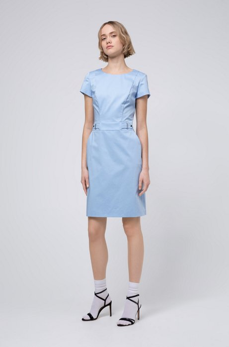 Stretch-cotton shift dress with waistband hardware, Light Blue