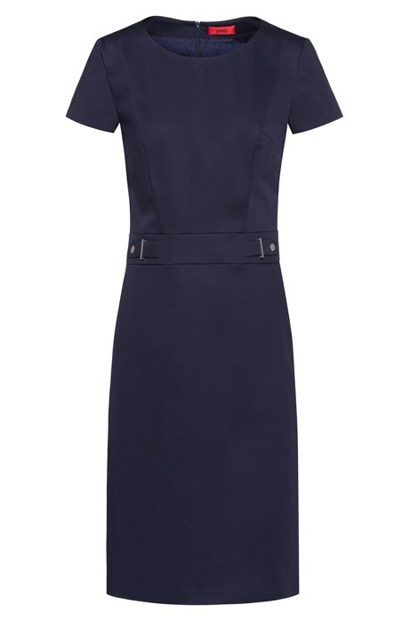 Stretch-cotton shift dress with waistband hardware, Dark Blue