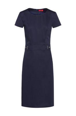 Stretch-cotton shift dress with waistband hardware, Dark Blue