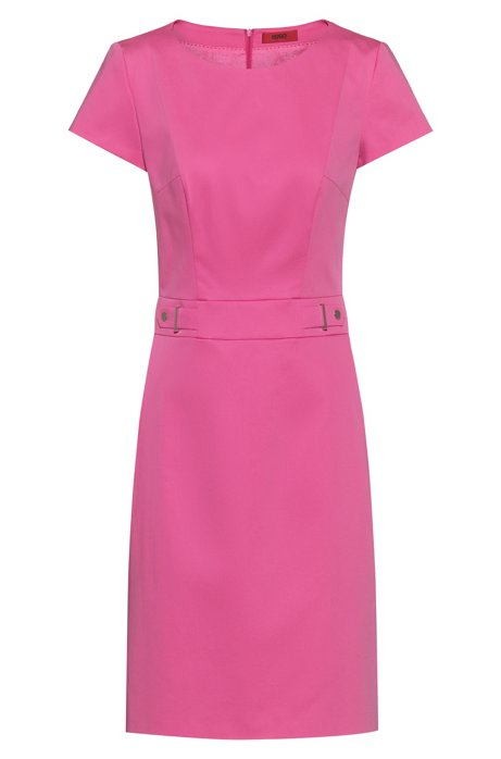 Stretch-cotton shift dress with waistband hardware, Pink