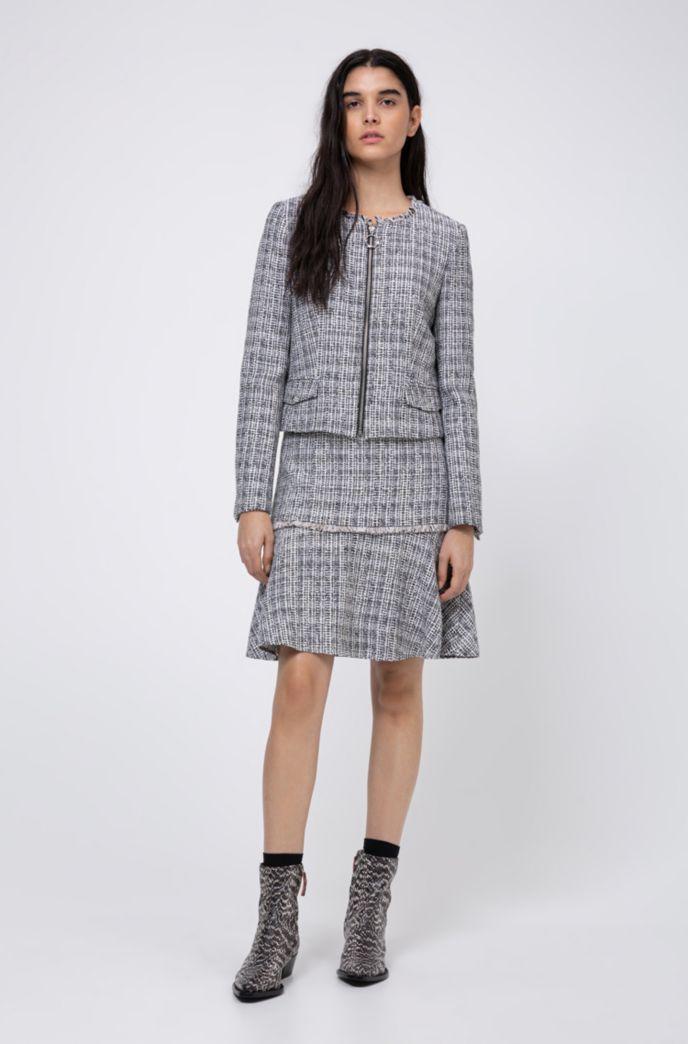 Tweed-Minirock aus Baumwoll-Mix mit hohem Bund und Fransen