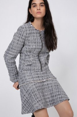 High-waisted mini skirt in tweed with fringing, Patterned