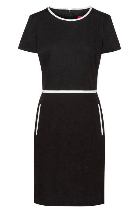 Short-sleeved shift dress in a stretch-cotton blend, Black