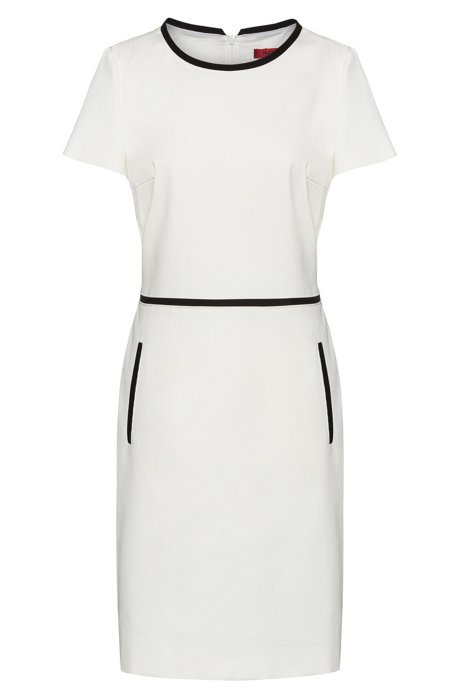 Short-sleeved shift dress in a stretch-cotton blend, White