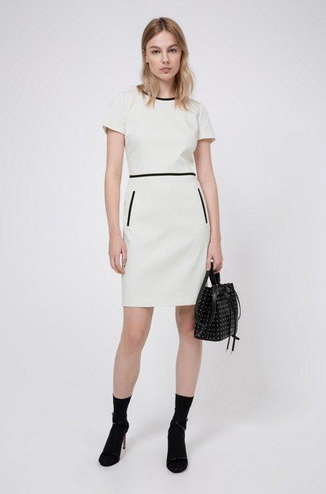 Robe droite à manches courtes en coton stretch mélangé, Blanc