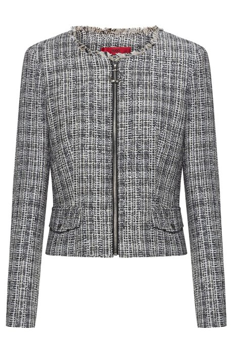 Giacca regular fit in tweed con zip e frange, A disegni