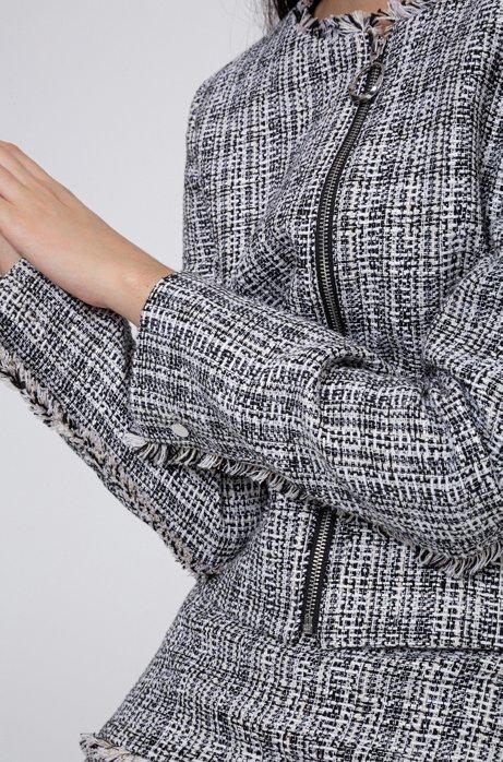 Regular-fit jasje van tweed met rits en franjedetails, Bedrukt