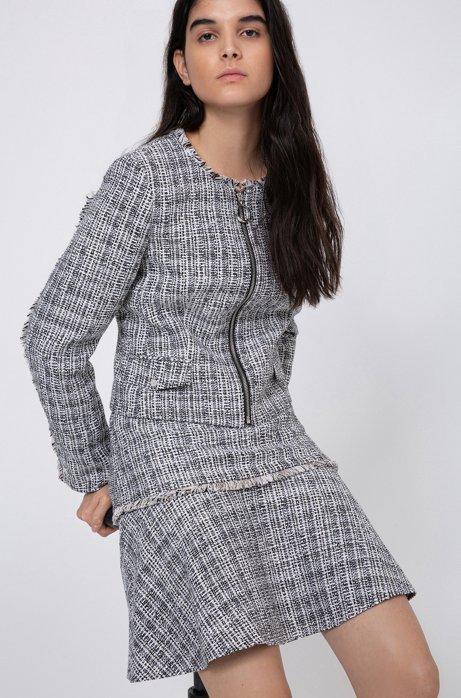 Tweed-Blazer mit Fransen und Reißverschluss, Gemustert